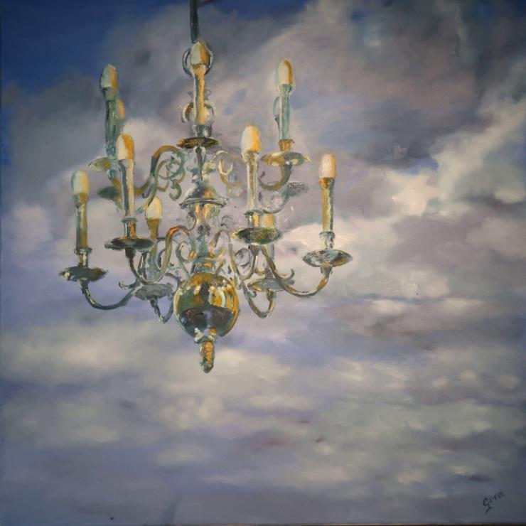Kroonluchter Marekerk schilderij van Gera Leenman